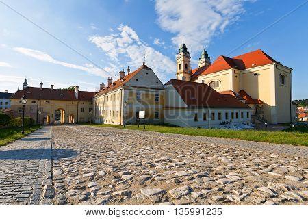 VALTICE, CZECH REPUBLIC - JUNE 22, 2016: Church in town of Valtice in Moravia, Czech Republicon June 22, 2016.
