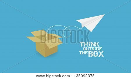 paper plane and paper box with text