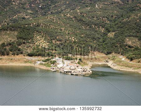 The sinking image of Sfentili in the Lasithi area of Crete