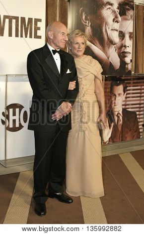 Glenn Close and Patrick Stewart at the 56th Annual Primetime Emmy Awards - Showtime After Party held at the Morton's in Beverly Hills, USA on September 19, 2004.