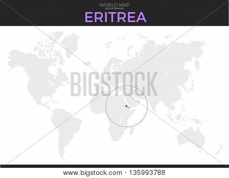 State of Eritrea location modern detailed vector map. All world countries without names. Vector template of beautiful flat grayscale map design with selected country and border location