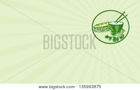 Business card showing illustration of banh mi rice bowl with chopstick coriander and meat-filled sandwich on the side set inside circle on isolated background done in retro style.