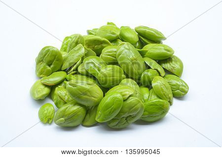 close up Sato seeds isolated on white background