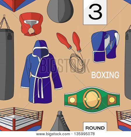 Boxing set pattern. Fighting and boxing equipment. Boxing gloves vector illustration. Boxing gym icons. punching bag