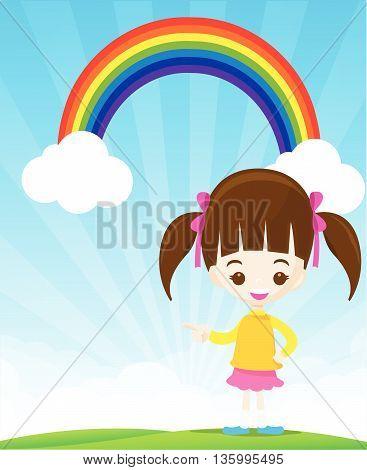 Cute little girl pointing the finger on sunburst and blue sky with rainbow vector illustration eps10