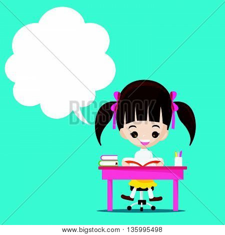 Cute little girl reading a book with speech bouble blank copyspace vector illustration eps10