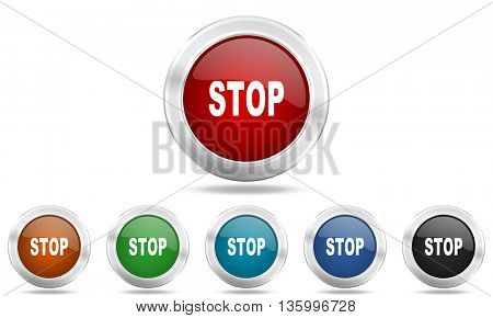 stop round glossy icon set, colored circle metallic design internet buttons
