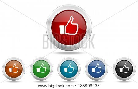 like round glossy icon set, colored circle metallic design internet buttons
