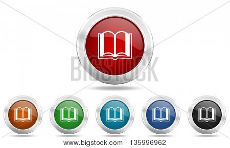 book round glossy icon set, colored circle metallic design internet buttons
