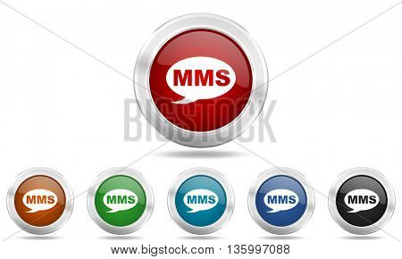 mms round glossy icon set, colored circle metallic design internet buttons
