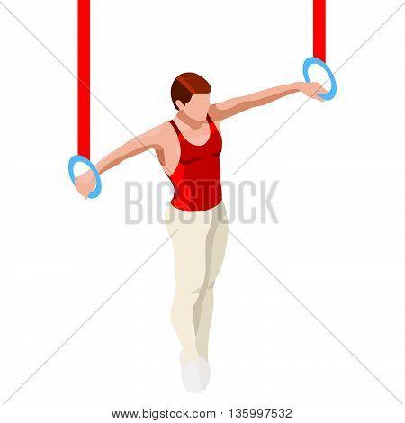 Gymnastics Still Rings Summer Icon Set.3D Isometric Gymnast.Sporting Championship International Competition.Olympics Sport Infographic Artistic Gymnastics Vector Illustration