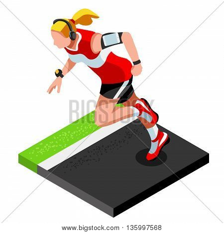 Marathon Runners Athletic Training Working Out Gym. Runners Running Athletics race Working Out for international championship competition. 3D Flat Isometric Marathon Gym Training Vector Image.