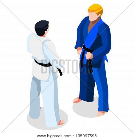 Judo karate Fight Summer Games Icon Set.3D Isometric Fighting Athlete.Sporting Championship International Martial Arts Match Competition.Sport Infographic Judo Fight Vector Illustration