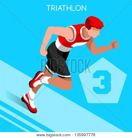 Triathlon Summer Icon Set.3D Isometric White Man Athlete Triathlete.Modern Triathlon Running Swimming Road Cycling Sporting Competition.Olympics Sport Infographic Triathlon Vector Image
