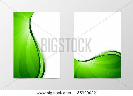 Flyer template vortex design. Abstract flyer template with green line. Bright wavy spectrum flyer design. Vector illustration