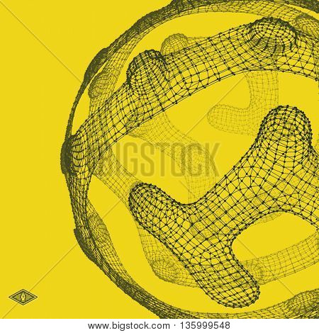 3D Connection Structure. Futuristic Technology Style. Abstract Design. Lattice Geometric Element. Vector Illustration.