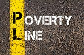 Concept image of Business Acronym PL Poverty Line written over road marking yellow paint line poster