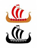 Drakkar - Viking's Ship in Nordic Sea. Wooden Warships of Scandinavian Ancient Warriors. Vector Illustration of boat and silhouetter image isolated on white background. poster