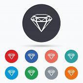 Diamond sign icon. Jewelry symbol. Gem stone. Flat brilliant icon. Simple design brilliant symbol. Brilliant graphic element. Circle buttons with brilliant icon. Vector poster
