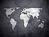 world map on concrete wall poster
