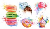 Watercolor confectionery set, vector icon collection with candy lollipop, macaroons, birthday cupcake, chocolate bar, donut with pink glaze. Delicious food for a sweet tooth poster