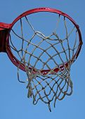 close up of basketball net on blue background poster