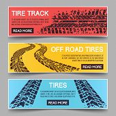 Tire tracks vector banners set. Banner tire track, dirty messy track banner, mud trail track banner illustration poster