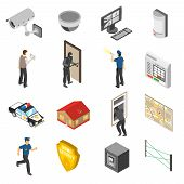 Home security system service isometric elements collection with surveillance camera and police officer abstract isolated icons vector illustration poster