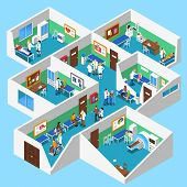 Hospital ground floor interior isometric design with mri facility patients nurses and doctor assistants abstract vector illustration poster