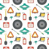Seamless pattern with lift jack, tow rope, first aid kit, fire extinguisher, spare wheel, shovel, brush and scraper, warning triangle, car air compressor. Vector illustration. poster