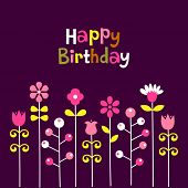 flower birthday card design poster