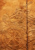 Ancient sumerian stone carving with cuneiform scripting poster