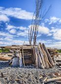 A small homemade structure with an entrance built out of driftwood on a beach in Puget Sound provides shelter from the wind. poster
