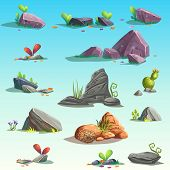 Set of isolated stones boulders. Vector isolated objects. Bright background images for print create videos or web graphic design user interface card poster. poster