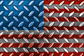 American Flag On A Diamond Metal Texture