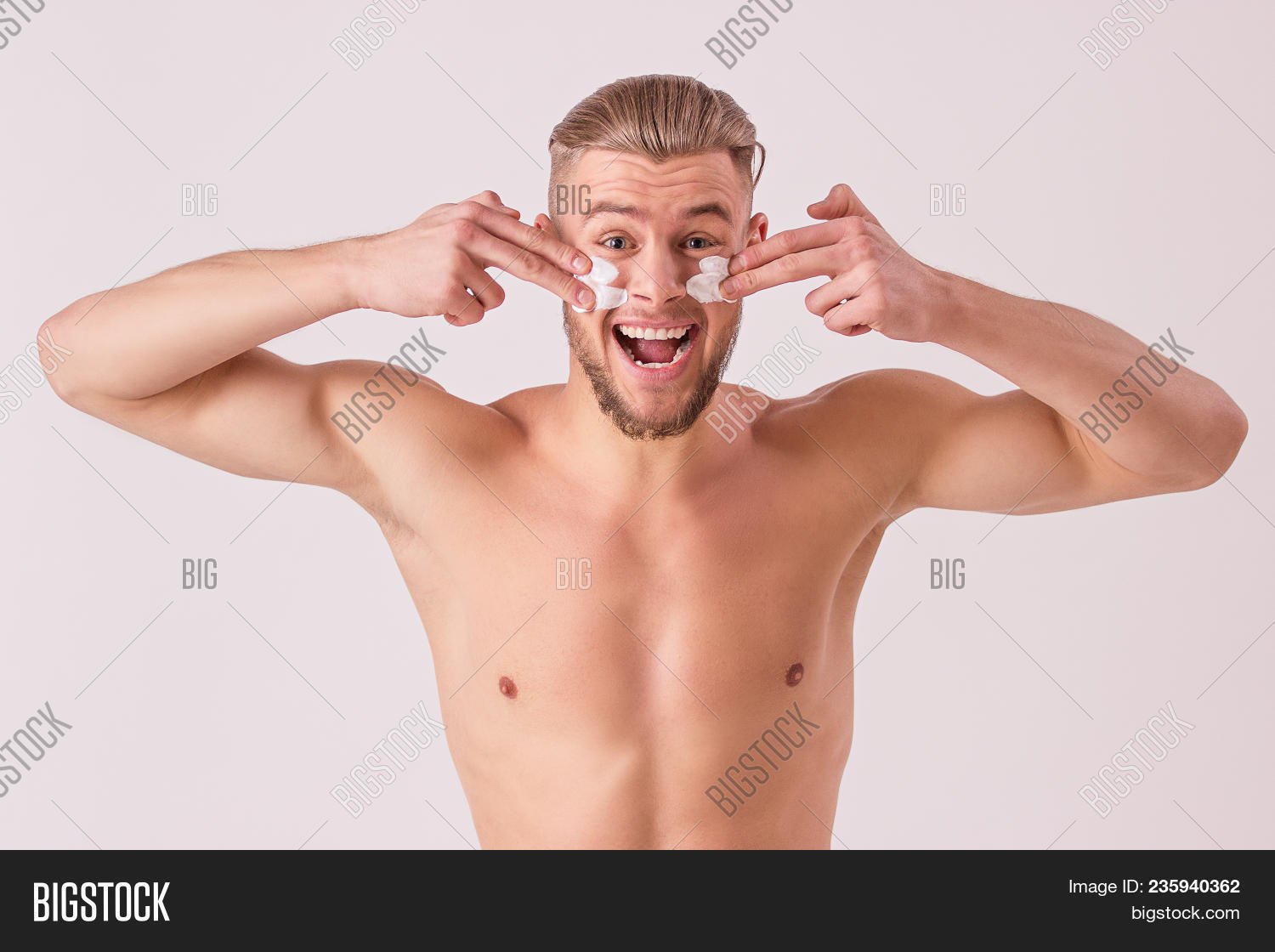 Hands behind neck male nude