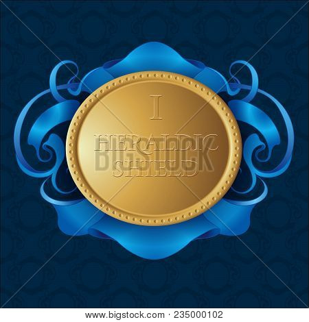 Gold Heraldic Shield. Gold Shield With Blue Ribbon On Seamless Pattern Background.