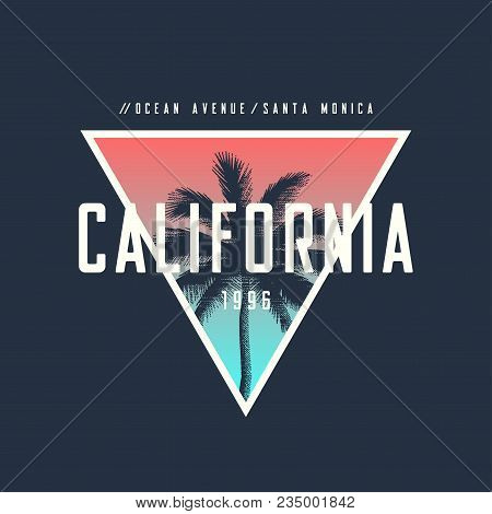 California Ocean Avenue T-shirt And Apparel Design With Rough Palm Tree, Vector Illustration, Typogr