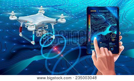 Drone Or Quadcopter With Camera 3d Scanning Land. Drone Fly Over Landscape And Make Geological Mappi