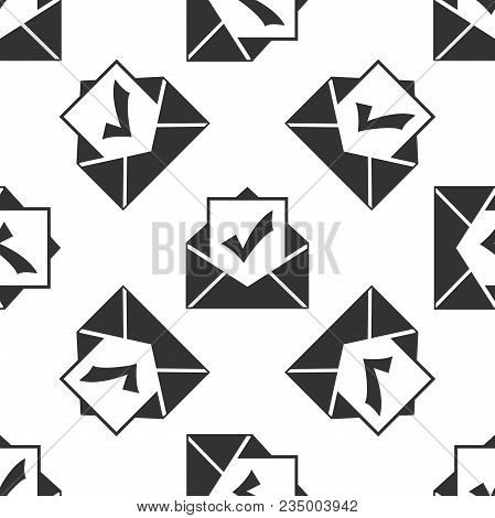 Envelope With Document And Check Mark Icon Seamless Pattern On White Background. Successful E-mail D