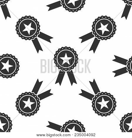Award Medal With Star And Ribbon Icon Seamless Pattern On White Background. Winner Achievement Sign.