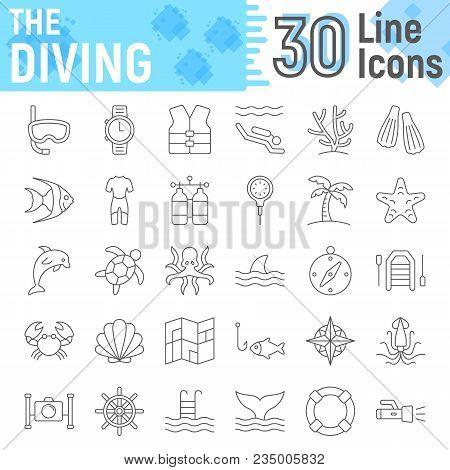 Scuba Diving Thin Line Icon Set, Underwater Symbols Collection, Vector Sketches, Logo Illustrations,