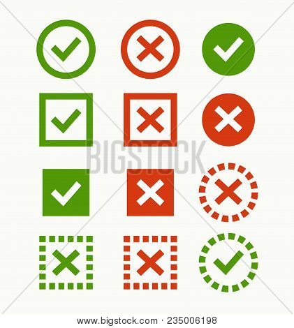 Check Mark Icon. Green And Red Marks And Crosses. Symbols Of The Recommendations Are Correct And Inc