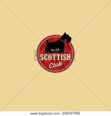 Scottish Terrier Club Logo. Dog Kennel Emblem. Badge On The Scottish Cell.