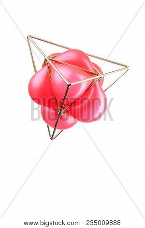 Golden Triangular Pyramid With A Red Balloon
