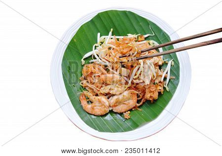 Pad Thai Stir Fried Rice Noodles With Shrimp And Egg On Plate