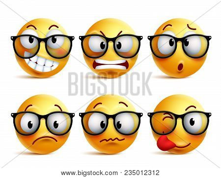 Smileys Vector Set Of Yellow Nerd Emoticons With Eyeglasses And Funny Facial Expressions Isolated In