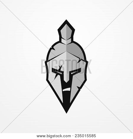 Furious Face Of A Roman Warrior In Battle Helmet. Head Of A Spartan Soldier In Flat Silhouette Style