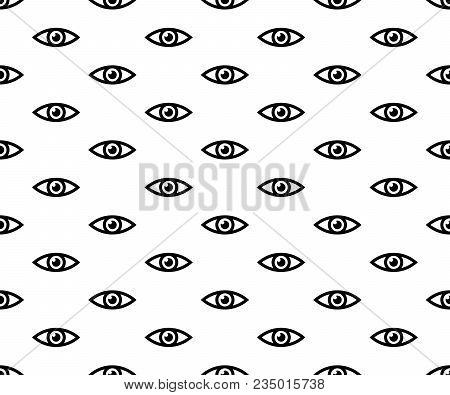 Eyes Seamless Pattern. Open Eyes Black Color Line Style On White Background.