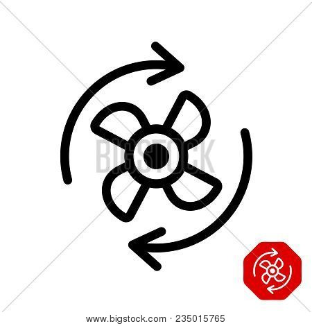 Fan Rotation Direction Icon. Black Color Line Style Propeller Rotate Symbol.